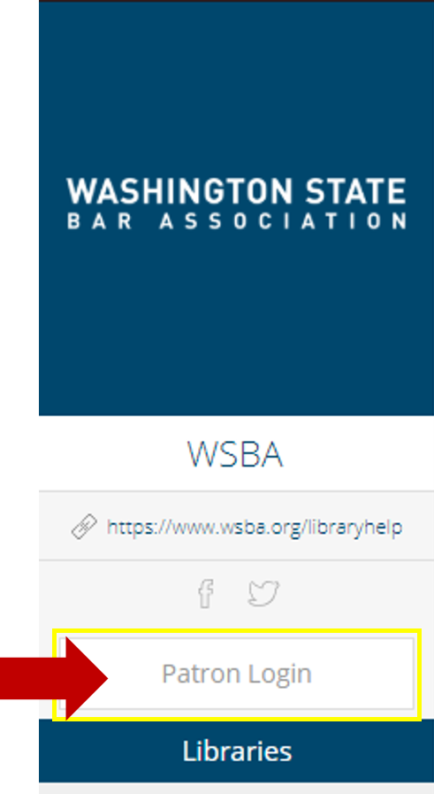 Visual image of the Patron Log-In link at www.wsba.libib.com