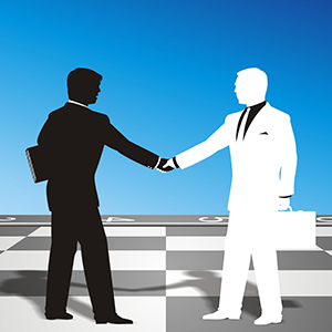 Graphic of a two men shaking hands on a chessboard