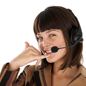 A woman with telephone headset on