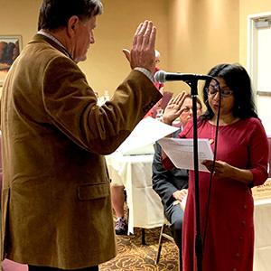 Sunitha Anjilvel being sworn in