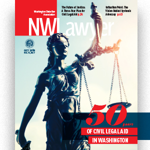 Cover of NWLawyer with Lady Liberty