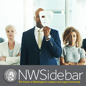A lawyer wearing a mask