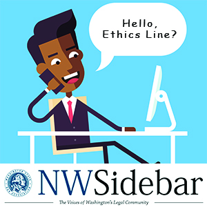 Cartoon of lawyer calling the Ethics Line