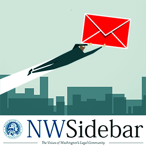 Illustration of a lawyer flying over a cityscape holding a giant envelope.